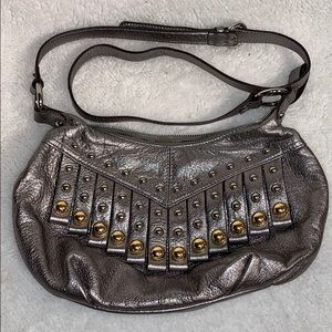 B. Makowsky Leather Purse Metallic Silver and Gold